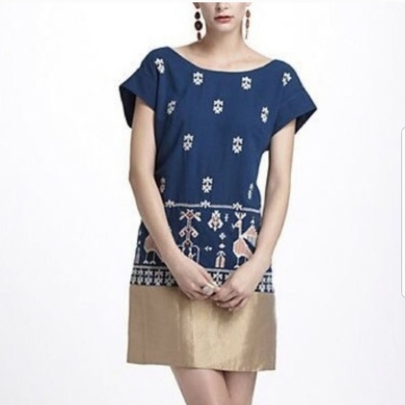 Anthropologie Floreat Aztec Bird Embroidery Dress